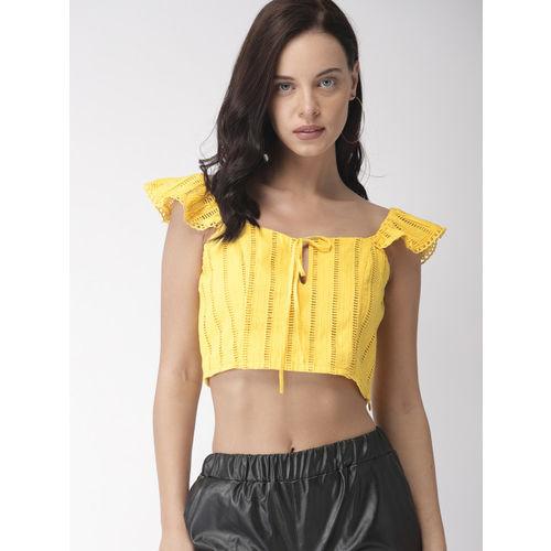 FOREVER 21 Women Yellow Self Design Cropped Regular Top