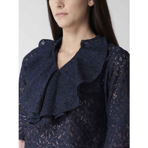 MIWAY Women Navy Blue & Dusty Pink Lace Top