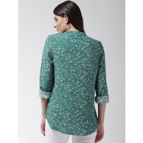 Marks & Spencer Women Green & White Printed Shirt Style Top