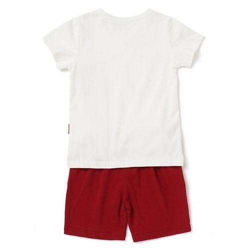 Awabox Muscle Printed Half Sleeves Tee & Shorts Set - White & Maroon