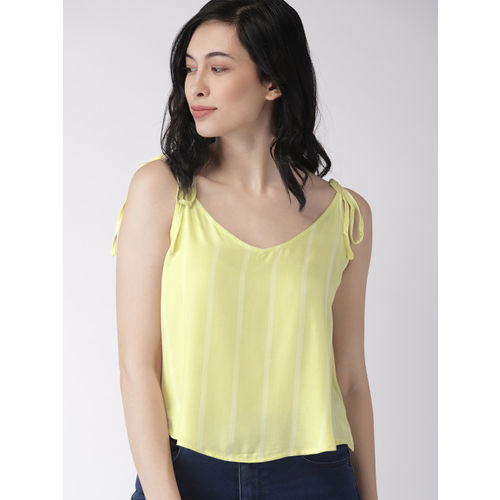FOREVER 21 Women Yellow Striped Boxy Top