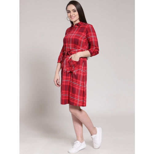 plusS Women Red Checked Shirt Dress
