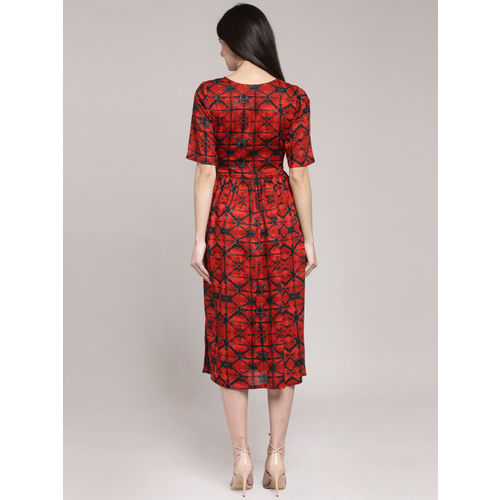 plusS Women Red Printed Fit and Flare Dress