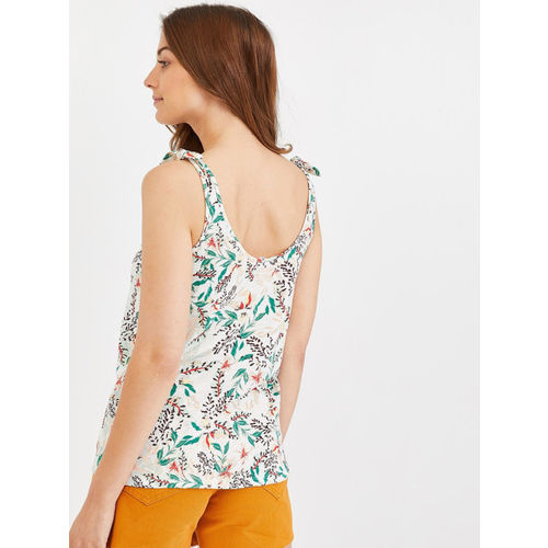 promod Women White & Green Printed Top