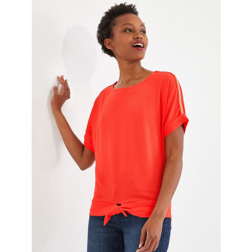 promod Women Bright Red Solid Top