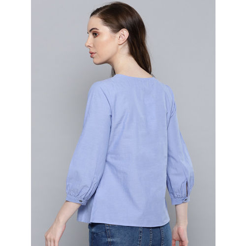 Chemistry Women Blue Embroidered A-Line Top