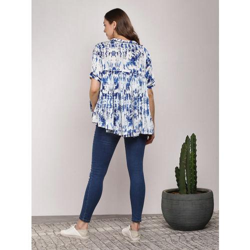 Sangria Women Navy Blue Printed Blouson Top