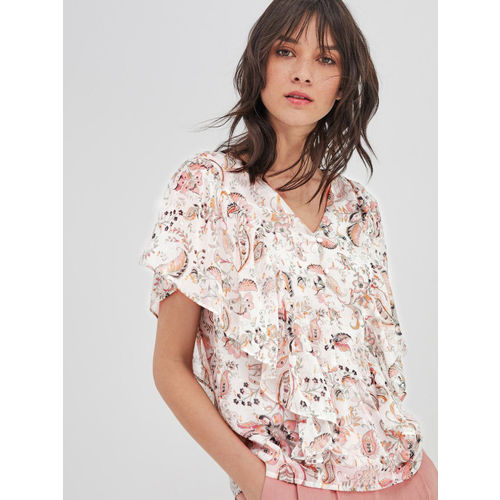 promod Women White & Pink Printed Top