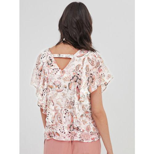 promod Women White & Pink Printed Top