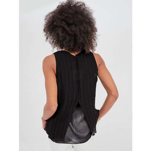 promod Women Black Solid Styled Back Top
