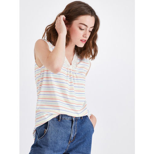promod Women White & Orange Striped High-Low Top