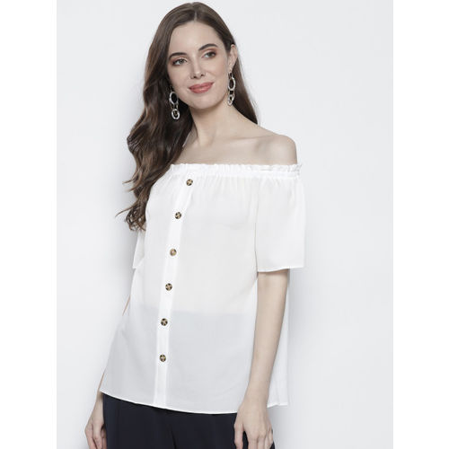 DOROTHY PERKINS Women White Solid Bardot Top