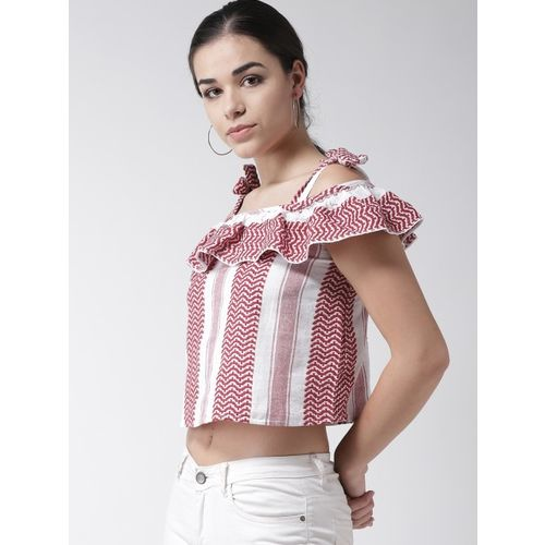 SCOUP Women Red & White Self Design Cropped Bardot Top