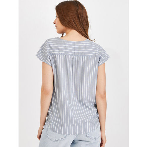 promod Women Grey Striped Shirt Style Top