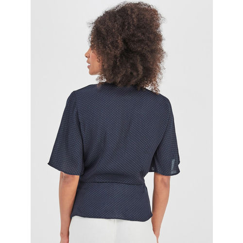 promod Women Navy Blue Self Design Wrap Top