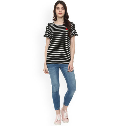 People Women Black and White Striped Top