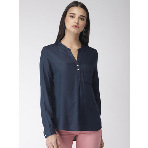 Marks & Spencer Women Navy Blue Solid Shirt Style Top