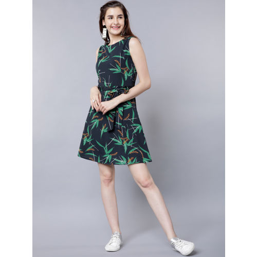 Tokyo Talkies Women Navy Blue Printed Fit and Flare Dress
