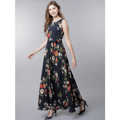 Tokyo Talkies Women Navy Blue Printed Maxi Dress