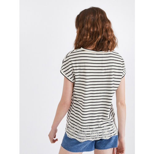 promod Women White Striped Top