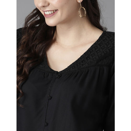 HERE&NOW Black Solid Lace Inserts Regular Top