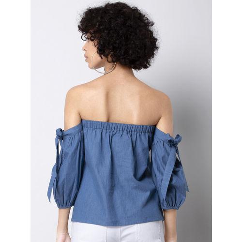 FabAlley Women Blue Solid Bardot Top