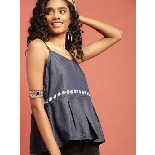 Taavi Women Blue Hand Block Print Legacy A-Line Top with Gathers
