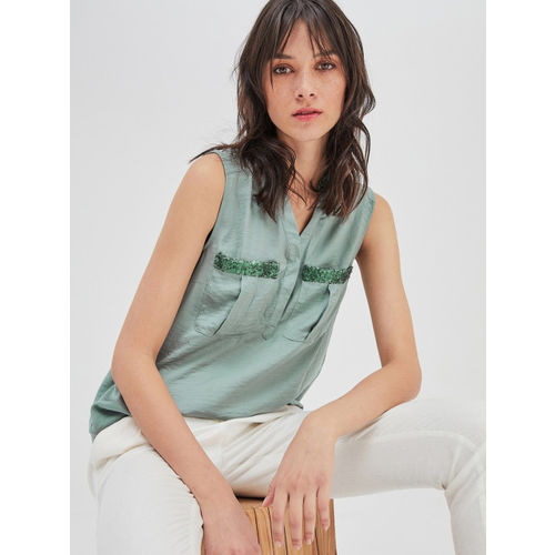 promod Women Green Solid Top