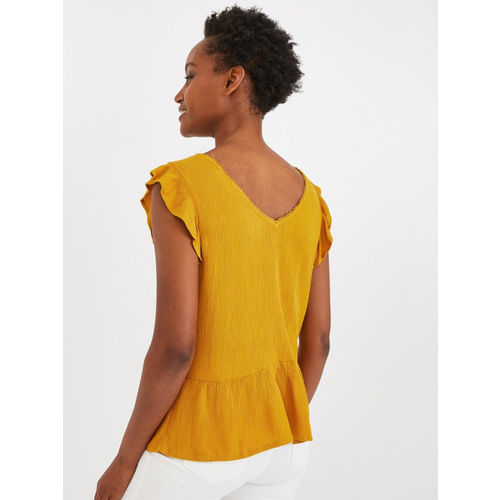 promod Women Mustard Yellow Self Design Top