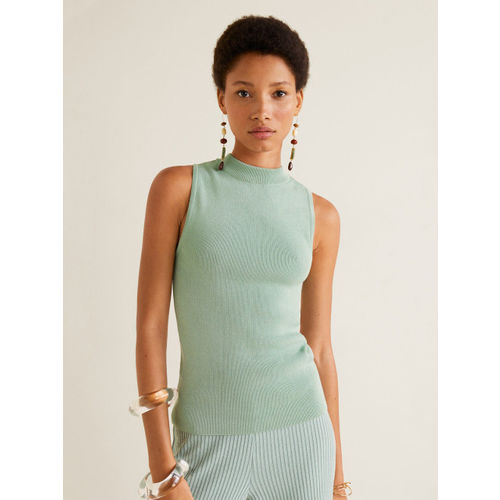 MANGO Women Green Solid Fitted Top
