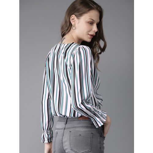 HERE&NOW Women Green & White Striped Cropped Blouson Top