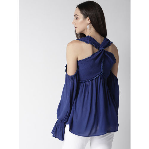 MIWAY Women Blue Solid Cold-Shoulder A-Line Top