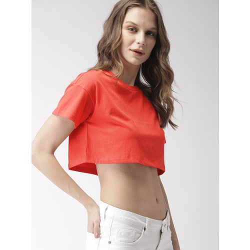 FOREVER 21 Women Coral Pink Solid Cropped Boxy Top