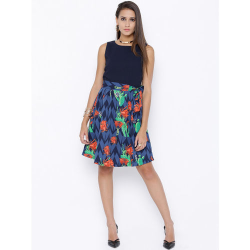 Tokyo Talkies Women Navy Printed Fit and Flare Dress