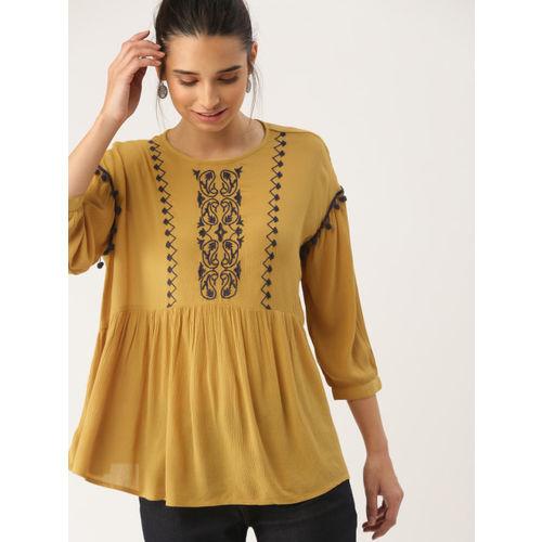 DressBerry Women Mustard Self Design A-Line Top