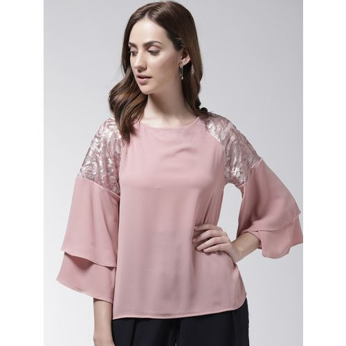 Madame Pink Solid A-Line Top with Sequinned Detail