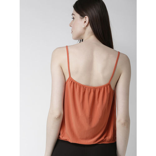 FOREVER 21 Women Rust Solid Wrap Top