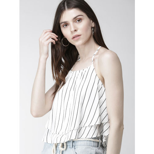 FOREVER 21 Women White & White Striped Top