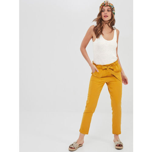 promod Women White Solid Linen Top