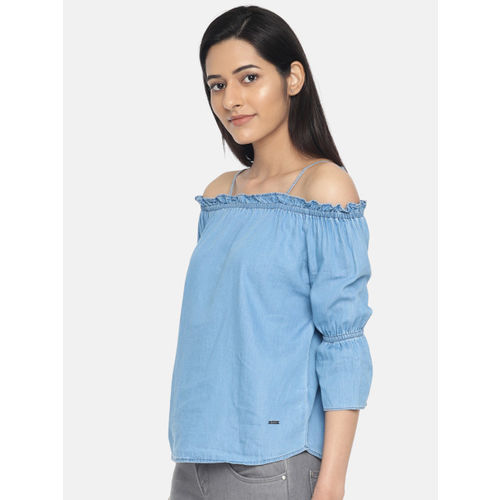 Kraus Jeans Women Blue Solid Off-Shoulder Chambray Top