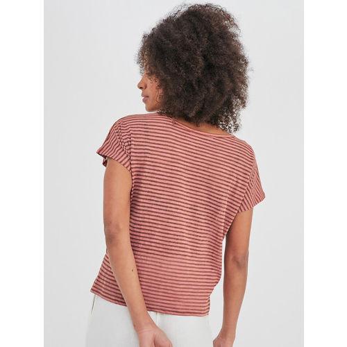 promod Women Pink & Brown Striped Top