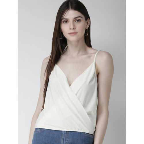 FOREVER 21 Women Off-White Solid Wrap Top