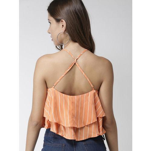 FOREVER 21 Women Orange & White Striped Layered Top