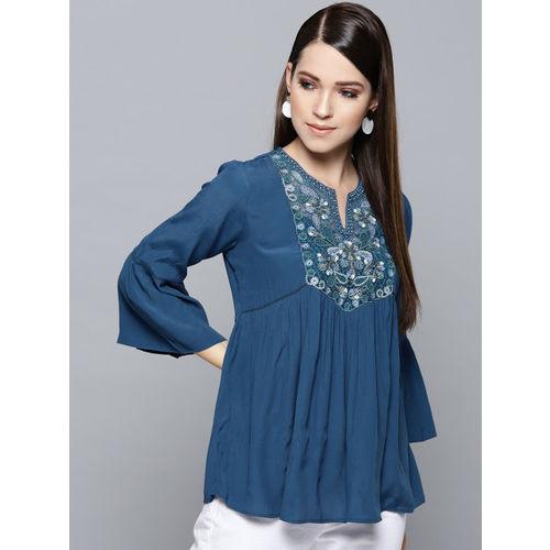 Label Ritu Kumar Women Teal Blue Embroidered Detail A-Line Top