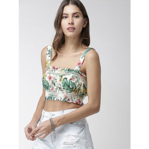 FOREVER 21 Women Green & White Printed Cropped Bralette Top