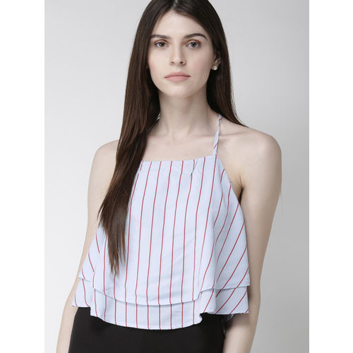 FOREVER 21 Women Blue & Red Striped Top