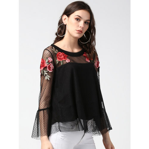 StyleStone Women Black Self Design Top