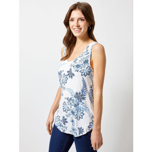 DOROTHY PERKINS Women White & Blue Floral Print Top