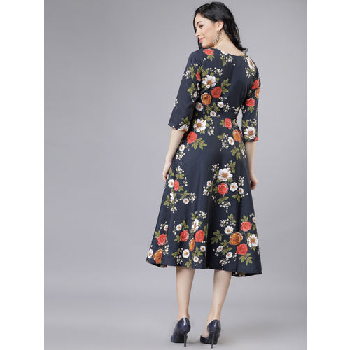 Tokyo Talkies Women Black & Red Fit and Flare Dress