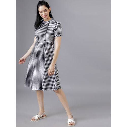 Tokyo Talkies Women Black & White Fit and Flare Dress